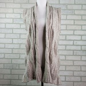 CAbi Knitted Vest Cardigan Cotton Wool Tan SM #499